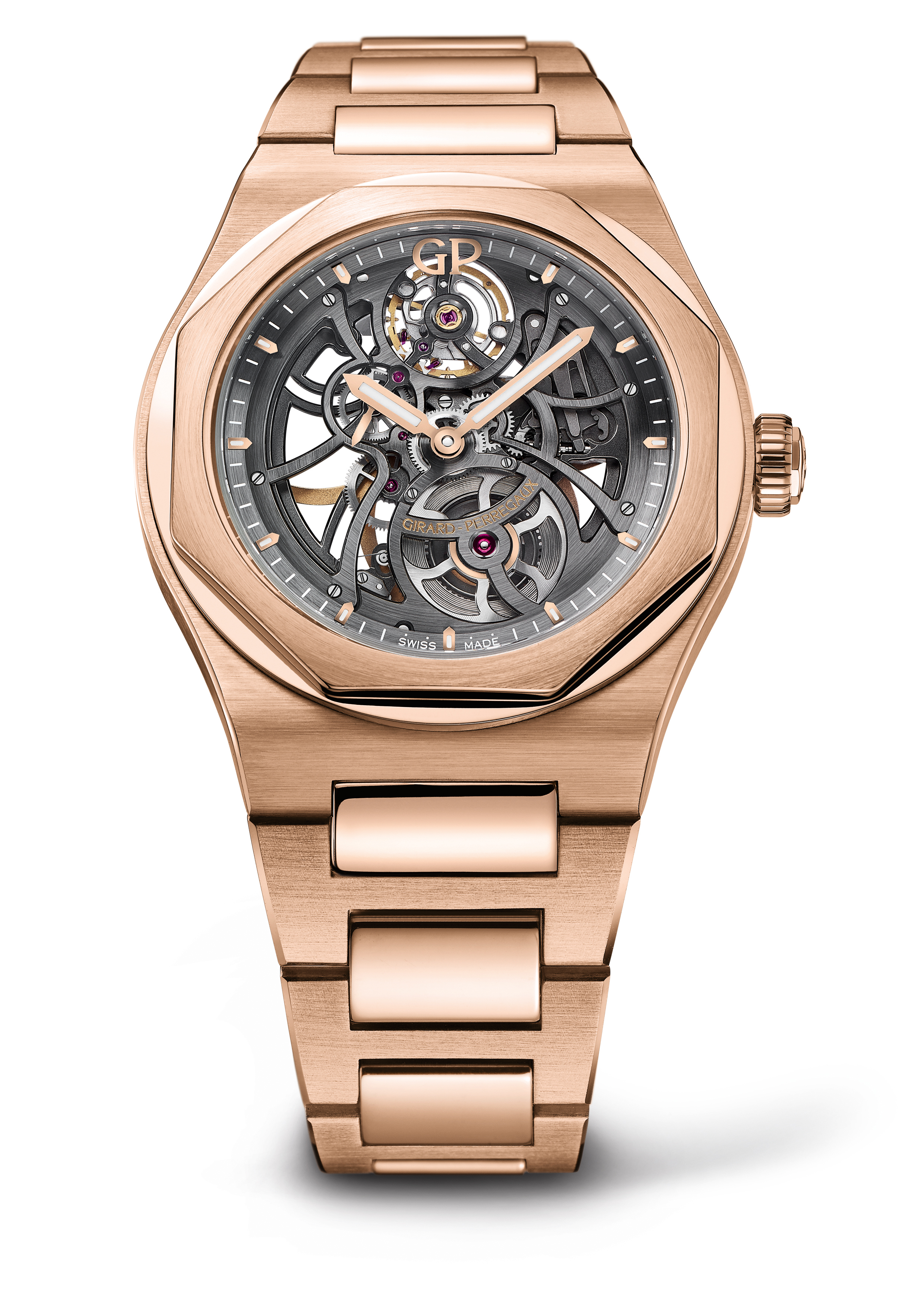 Girard-Perregaux Laureato Skeleton Openworked Dial Pink Gold